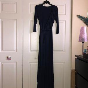 🔷 Navy Blue Quarter Sleeve Jersey Wrap Dress (M)